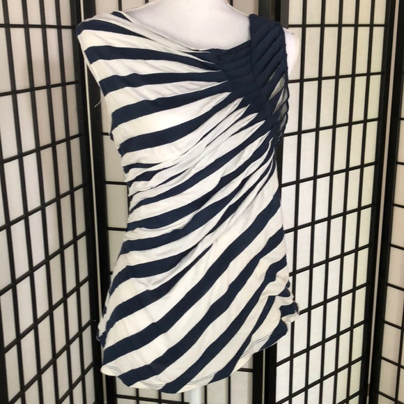 one september Tops - Blue and white striped tank top